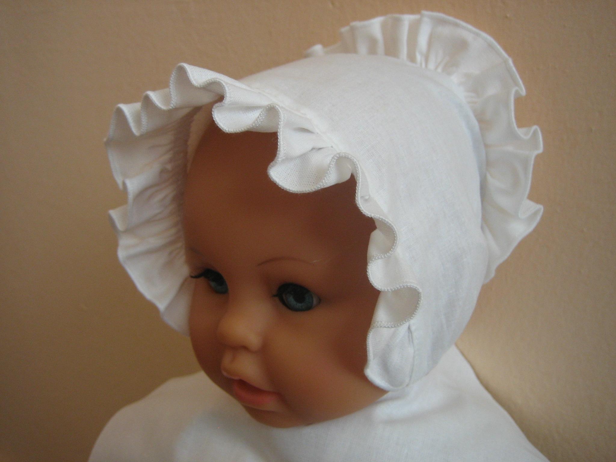22ccd84a3c4 Čepička kojenecká plátno bílá
